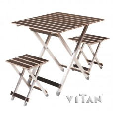 """Комплект великий розкладний стіл з двома стільцями """"ALUWOOD"""""""
