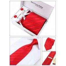 Яркий красный галстук в наборе с запонками, зажимом в подарочной упаковке