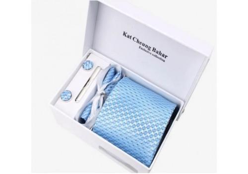 Галстук с нежным рисунком в наборе и подарочной упаковке, голубого цвета