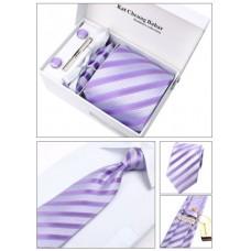 Набір краватка з запонками, затиск, декоративна хустка, в подарунковій упаковці, фіолетові смужки