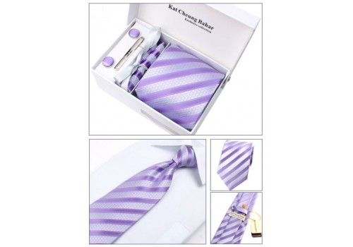 Мужской галстук фиолетовый в полоску