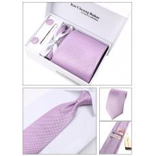 Фіолетова краватка з запонками, затиск, декоративна хустка, в подарунковій упаковці