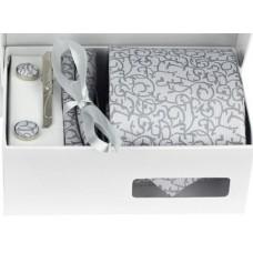 Краватка в наборі з запонками, затискачем декоративним хусткою, в подарунковій упаковці, колір білий (срібло)