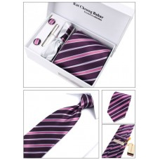 Набір краватка бордо в смужку з запонками, затиск, декоративна хустка, в подарунковій упаковці