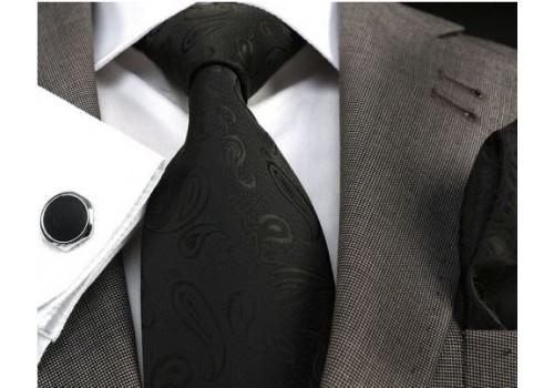 Черный галстук с рисунком