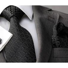 Чорний ефектний галстук в подарунковому наборі