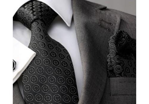 Черный эффектный галстук в подарочном наборе
