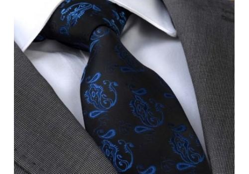 Черный галстук с синим орнаментом в подарочном наборе
