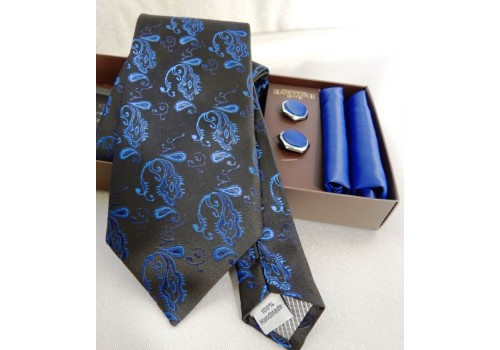 Чорна краватка з синім орнаментом в подарунковому наборі