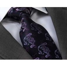 Черный галстук с фиолетовым орнаментом в подарочном наборе