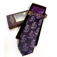 Черный галстук с фиолетовым орнаментом