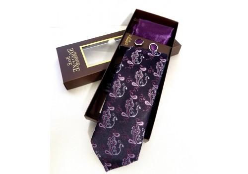 Чорна краватка з фіолетовим орнаментом