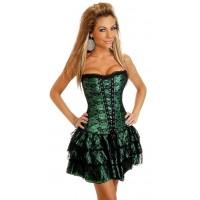 Платье корсетного типа раздельное (корсет + юбка)  зеленое