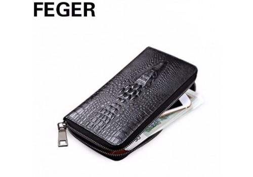 Портмоне Feger из натуральной кожи с крокодилом