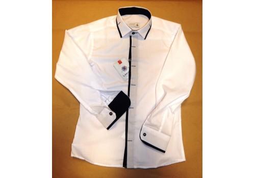 Сорочка біла з оригінальним дизайном для хлопчика