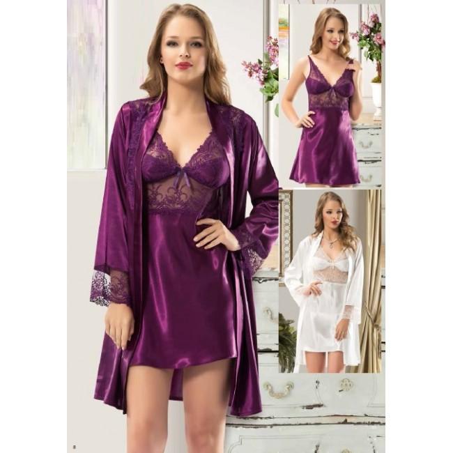 Купити пурпурний пеньюар в комплекті DiKa. StyleRoyal. 2205094ab7f2d