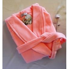 Длинный женский флисовый халат однотонный