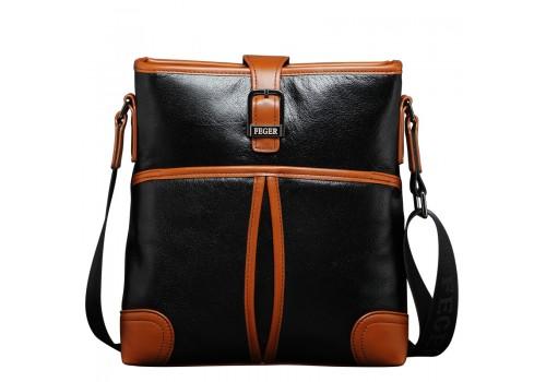 Стильна чоловіча шкіряна сумка на плече форми планшет
