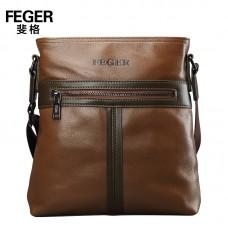 Кожаная брендовая мужская сумка на плечо коричневая