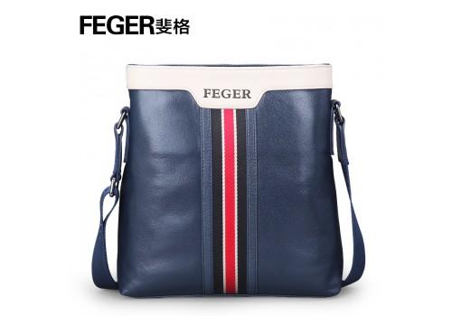 Стильная кожаная сумка, темно-синяя на плечо без ручек