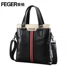 Стильная кожаная сумка, черная на плечо с ручками