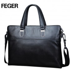Кожаная сумка для ноутбука Feger черная