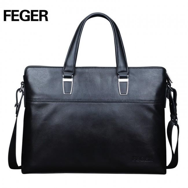 ... Шкіряна сумка для ноутбука Feger чорна ... 85dd167dbccd5