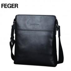 Кожаная сумка  FEGER на плечо черная