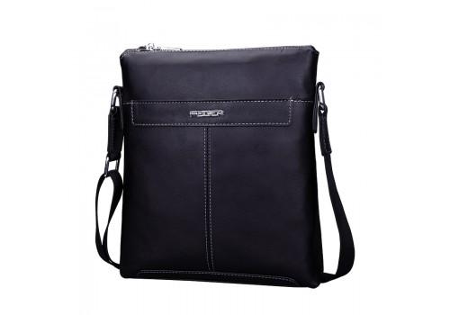 Черна матова сумка з натуральної шкіри