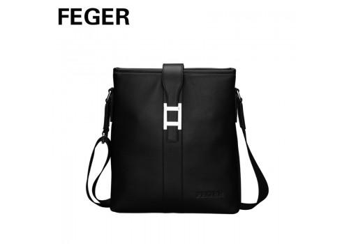 Чорна шкіряна сумка Feger