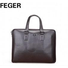 Велика коричнева шкіряна сумка FEGER