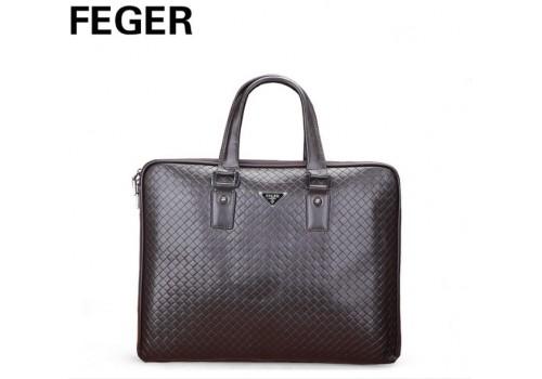 Большая коричневая кожаная сумка FEGER