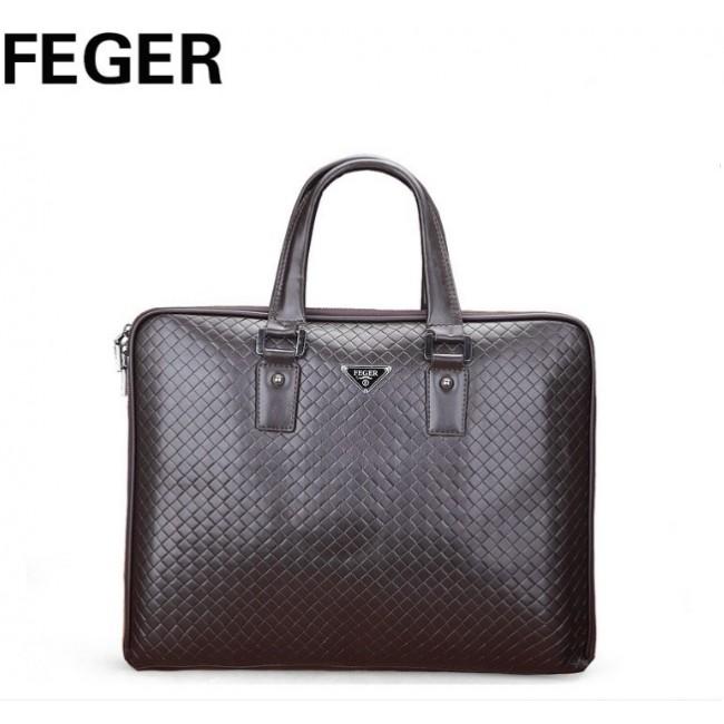 Купити велику чоловічу коричневу шкіряну сумку FEGER. StyleRoyal. 216335a3aa347