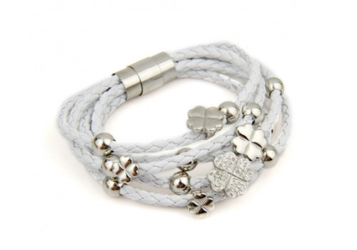 Білий шкіряний браслет плетений на магнитній застібці