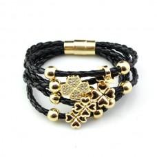 Кожаный браслет плетеный на магнитной застежке черный