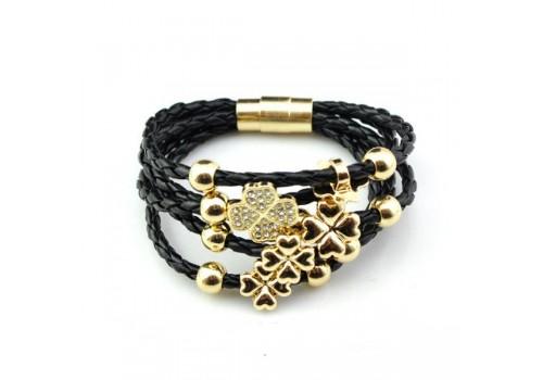 Шкіряний браслет плетений на магнитній застібці чорний