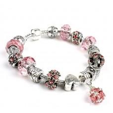 Браслет Pandora Style с розовыми бусинами