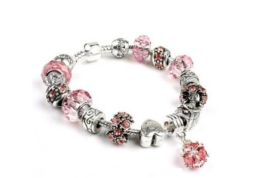 Браслет Pandora Style з рожевими намистинами