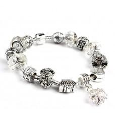 Браслет Pandora Style с белыми бусинами