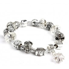 Браслет Pandora Style з білими намистинами