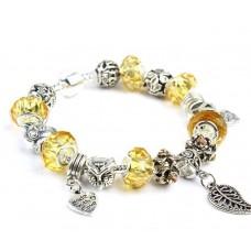 Браслет Pandora Style з бурштиновими намистинами