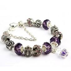 Розкішний браслет Pandora Style з фіолетовими намистинами і короною
