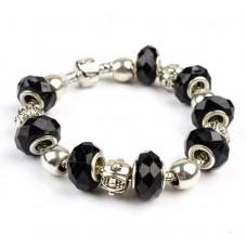 Классический браслет Pandora Style с черными бусинами из муранского стекла