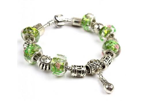 Браслет в стилі Пандора з намистинами з муранського скла в зелених тонах