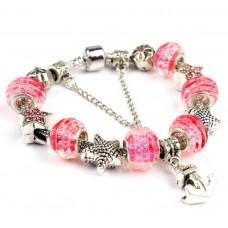 Браслет в стиле Пандора с бусинами из муранского стекла в нежно розовом цвете