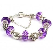 Браслет в стилі Пандора з фіолетовими намистинами