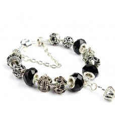 Роскошный браслет Pandora Style с черными бусинами и короной
