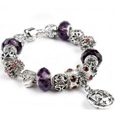 Браслет в стиле Пандора Любовь с фиолетовыми бусинами