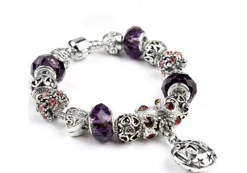 Браслет в стилі Пандора LOVE з фіолетовими намистинами