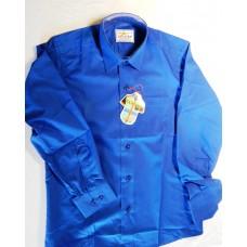 Детская однотонная рубашка синяя